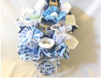 Big Trucks New Baby Gift Bouquet - Navy Blue & Grey
