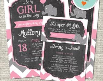Elephant Baby Shower Invitation, Elephant Invitation, Elephant, Pink, Gray, Flags, Chevron | DIY