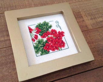 Flower Cross Stitch, Completed Cross Stitch, Floral Heart, Framed