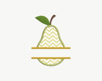 Split Pear Applique Machine Embroidery Design - 1 Size