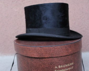 Antique Beaver Top Hat with original bow - Edwardian Swiss Top Hat