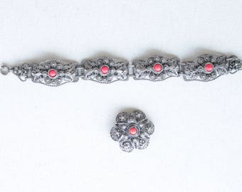 Antique Filigree Orental Jewelery Set - Silver Maroccain Bracelet and Brooch