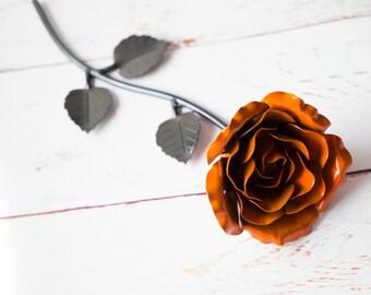 Hand forged wrought iron orange metal rose