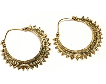 Big dotted Hoop Earrings with curved clasp handmade, Brass, Tribal Earrings , Boho Earrings, Gift boxed, Free UK post BG1