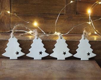 Set 4 Christmas tree ornaments - Minimalist Christmas decorations - Scandinavian Christmas decor - Rustic Christmas decor - Nordic Christmas