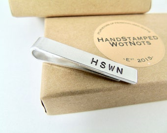 Skinny Tie Clip 4cm Personalised Hand Stamped Slim Fit Aluminium Custom Wedding Gift Best Man Groomsmen Favour Personalized  in Gift  Box