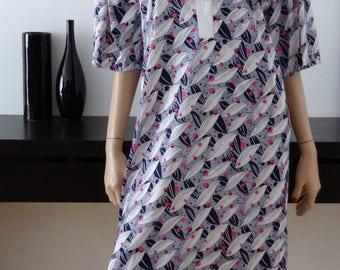 Robe vintage feuilles bleu/rose taille 44-46 / uk 16-18 / us 12-14