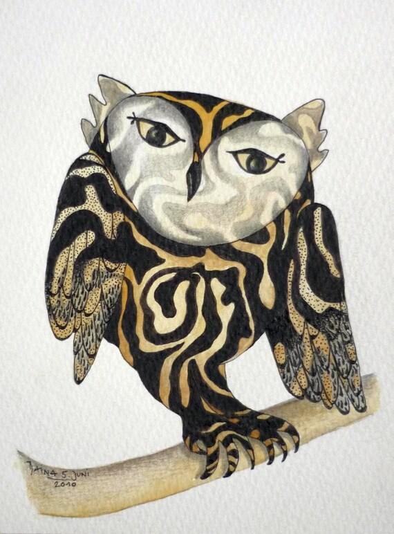 Kissed By A Zebra - Owl - Art Print Of My Original Illustration