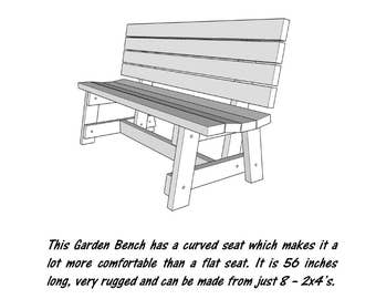 2x4 Garden Bench  - Wood Plans - PDF File - Blueprint