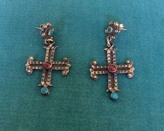Matl Design Vintage Mexican Stamped Taxco Silver Cross Earrings