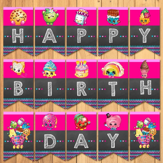 Shopkins Birthday Banner Shopkins Party Banner: Shopkins Happy Birthday Banner Chalkboard Shopkins Birthday