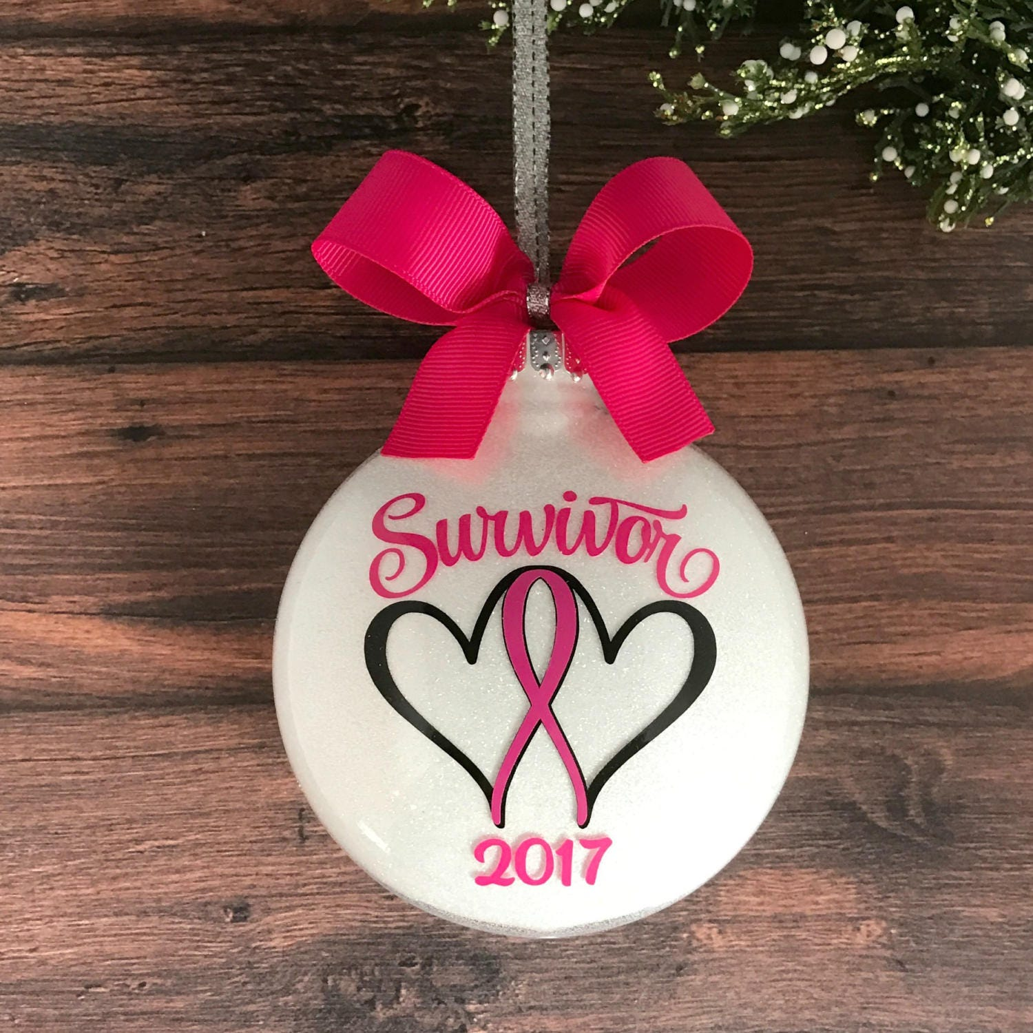 Breast cancer ornament - Breast Cancer Ornament Christmas Ornament Pink Ribbon Cancer Survivor Cancer Awareness