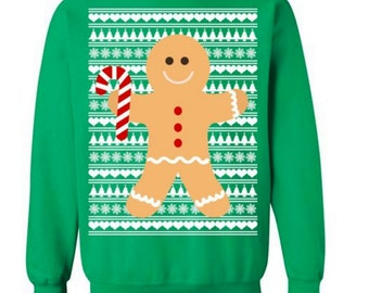 Cute Gingerbread Man Sweater Ugly Christmas Sweater Ugly Sweater Tacky Sweater for Christmas Party Sweater Ugly Pullover Funny Ugly #OS230