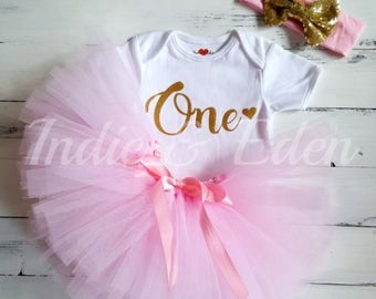 Baby girls 1st Birthday tutu birthday pink personalised gold one set glitter hairband photo prop cake smash