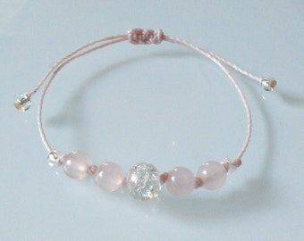 "Bracelet beads ""Love and beauty"", rose Quartz, Crystal rock, Meditation, Yoga, Zen, minimalist, Chakra, Lithotherapy"