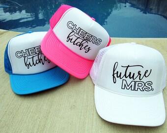 READY TO SHIP! Neon Bachelorette Trucker Hats | Bachelorette Hats | Bride Hat | Bridesmaid Hat | Bridal Party Hats | Bride Tribe Hat