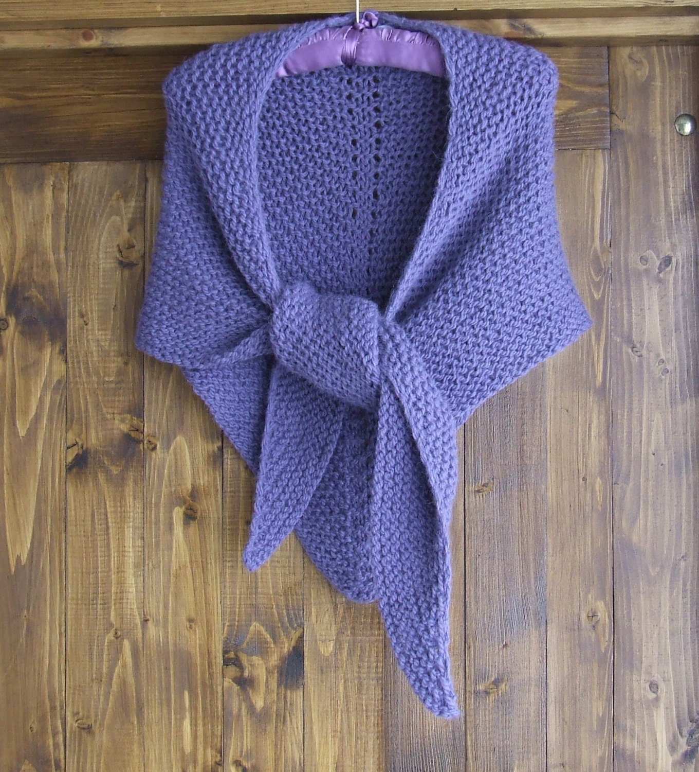 Hand knitted chunky alpaca shawl Knit triangle shawl