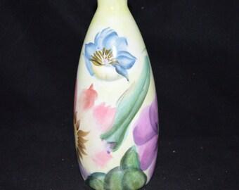 Pfaltzgraff vase / floral vase / Flower Market vase / Pfalzgraff Flower Market / pink / blue/ green / purple / flowers / vase / ivory