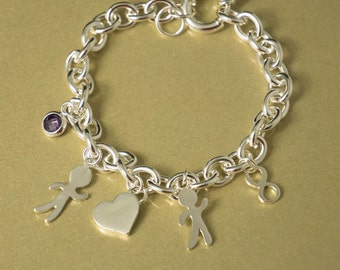 Charm Bracelet, Silver Charm Bracelet, Personalized Bracelet, Chain Bracelet, Custom Bracelet, Mom Bracelet, Mom Jewelry, Gift for Mom
