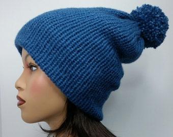 Denim Blue Chunky Knit Beanie With Pom-Pom Womens Knit Hat Ready To Ship