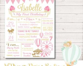 First Birthday Chalkboard, Carnival Pink Gold First Birthday Chalkboard - DIGITAL - First Birthday Chalkboard Poster - 8x10/11x14/16x20