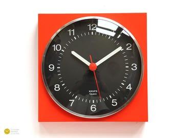 70s KRUPS Panton Wall Kitchen Clock - Germany BAUHAUS Space Age Mid Century Modern Orange Red Quarz mcm