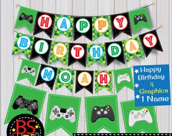 Video Game Birthday Banner , Video Game Birthday Party Banner , Custom Name Banner