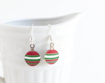Christmas Earrings, Christmas Ornament, Gift for Her, Stocking Stuffer, Ready to Ship, Holiday Jewelry, Enamel Charm Earrings