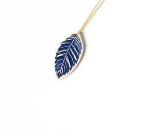 BLUE LEAF ceramic NECKLACE, Ceramic jewellery, Ceramic statement pendant, Small statement necklace, Statement jewellery,Gift for best friend