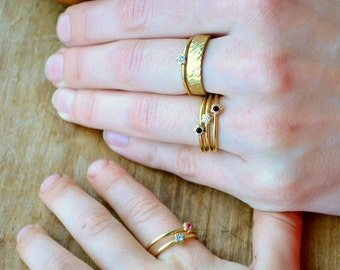 Stackable Rings, Brass ring set, bohogirl forget textured,hippie CZ flower ring, Dainty Rings, rustic style wedding rings, wildchild