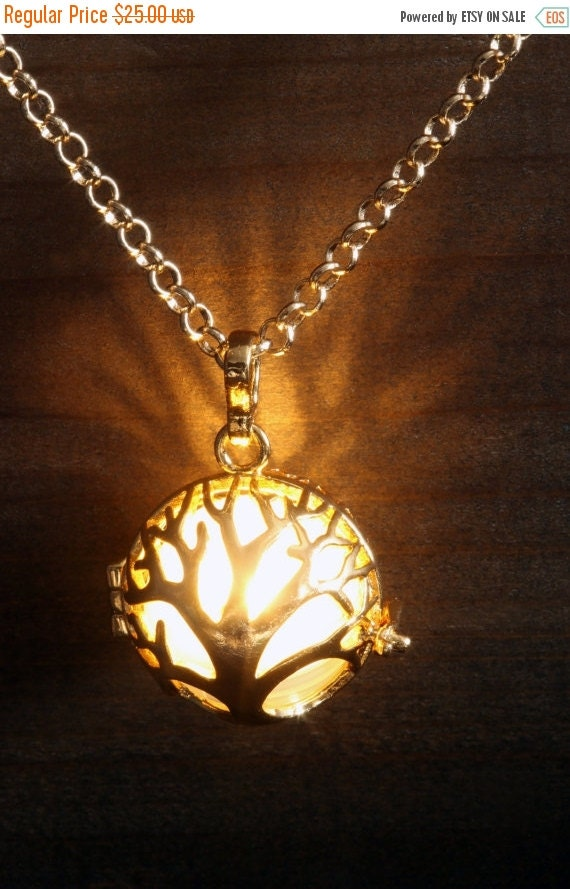 ON SALE TODAY - Glowing Pendant Tree of Life Necklace Tree of Life Locket Golden, Birthday Gift for Her, Fairy glow Jewelry,Led light - Warm