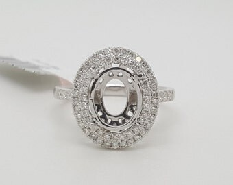 14K White Gold 0.51TCW Genuine Diamond Semi Mount Engagement Ring Oval Center 10*8MM Double Halo Size 6.5 SI1-2, G-H
