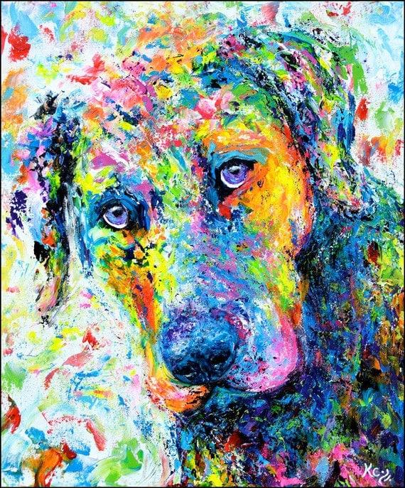 Labrador Retriever Wall Art entitled Rosebud. Visionary Impressionist Dog Art Print. FREE SHIPPING!