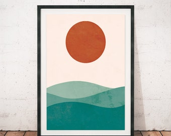 Sea print, Watercolor print, Geometric wall art, Nature print, Scandinavian design, Abstract poster, Wall decor, Sun print, Modern