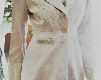 Vintage repurposed silver grey white wedding jacket