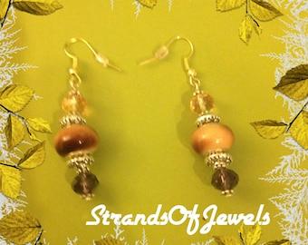 Purple and pink European bead dangle earrings
