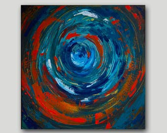 Acrylic Painting, Abstract Painting, Dusk Painting, Blue Art, Orange Art, Swirling, Circle Art, Contemporary Art, Home Decor, 18x18 canvas