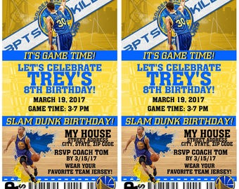 Printable Birthday Party Invitation Golden State Warriors Basketball Birthday Ticket Invitation Baby Showers Bar Mitzvahs Stephen Curry