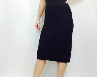 Vintage sweater skirt vintage wool skirt black wool skirt black pencil skirt wool pencil skirt angora skirt large pencil skirt size l skirt