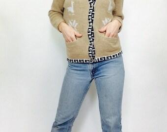 Vintage Alpaca cardigan sweater vintage alpaca sweater aplaca wool sweater bohemian alpaca sweater boho sweater vintage bohemian sweater sma