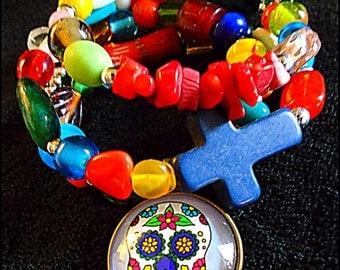 Day of the Dead sugar skull bracelet