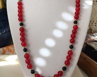 """Red Jade and Black Onyx Necklace, 20"""" long."""