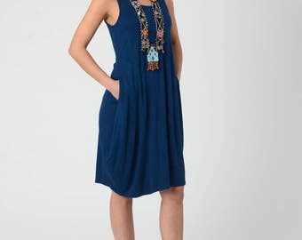 Royal Blue Casual Woman's Dress, Sexy Tank Dress, Lycra Draped Tank Dress With Pockets, Festival Loose Blue Short Dress, Women Summer Dress