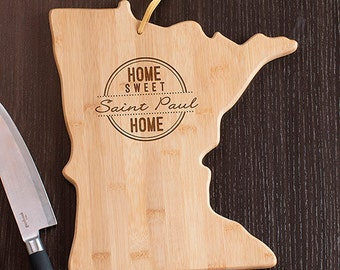 Minnesota State Shaped Cutting Board, Engraved Minnesota Shaped Cutting Board