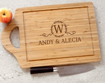 Engraved Initial & Name Cutting Board, Large Custom Cutting Board