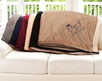 Embroidered Class Of Sherpa Blanket, Embroidered Graduation Blanket, Graduation Sherpa Throw