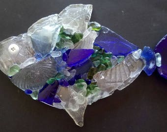 Thames glass fish made with glass collected along the Thames foreshore