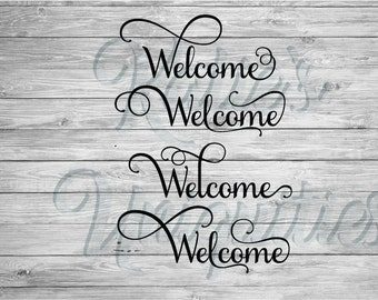 Welcome SVG DXF PNG Digital Cut File Set of 4 Versions  for use with cutting machines Cricut Silhouette