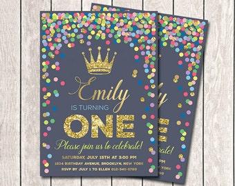 Princess Birthday Invitation Girl's Birthday Invitation Multicolored Confetti Invitation Any Age Printable Invitations Navy and Gold invite