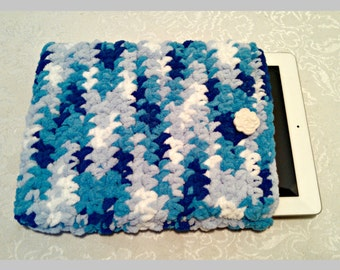Chenille 10 Inch Tablet iPad Cover with Vintage Button, Hand Crocheted Tablet Sleeve, Blues, #WS-B6, Washable, Free Domestic Shipping